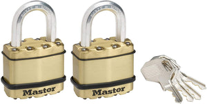 Pack of 2 zinc outdoor padlocks, brass finish, 45-mm - high shackle - keyed lock