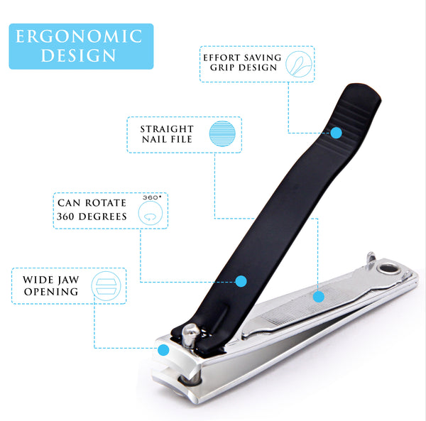 Stylish Professional Matt Black Nail Cutter