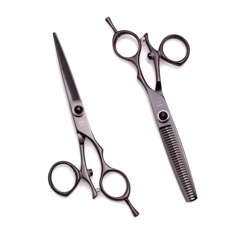 6.0 Inches Classic Black Swivel Hairdressing Scissors Set