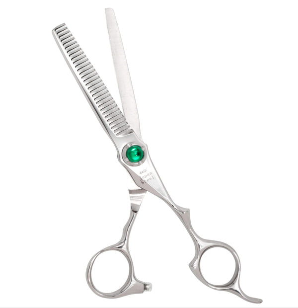 "6.0"" Green Crystal Line Hair Thinning Scissors"