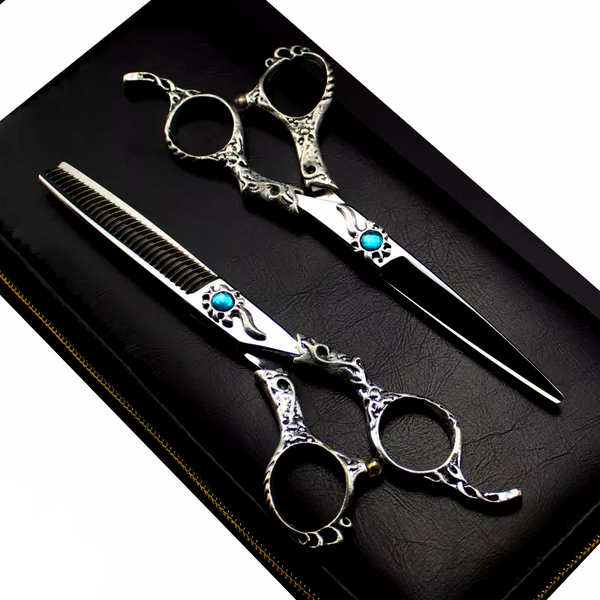 Hairdressing Scissors set 6.0'' Blue Cystal