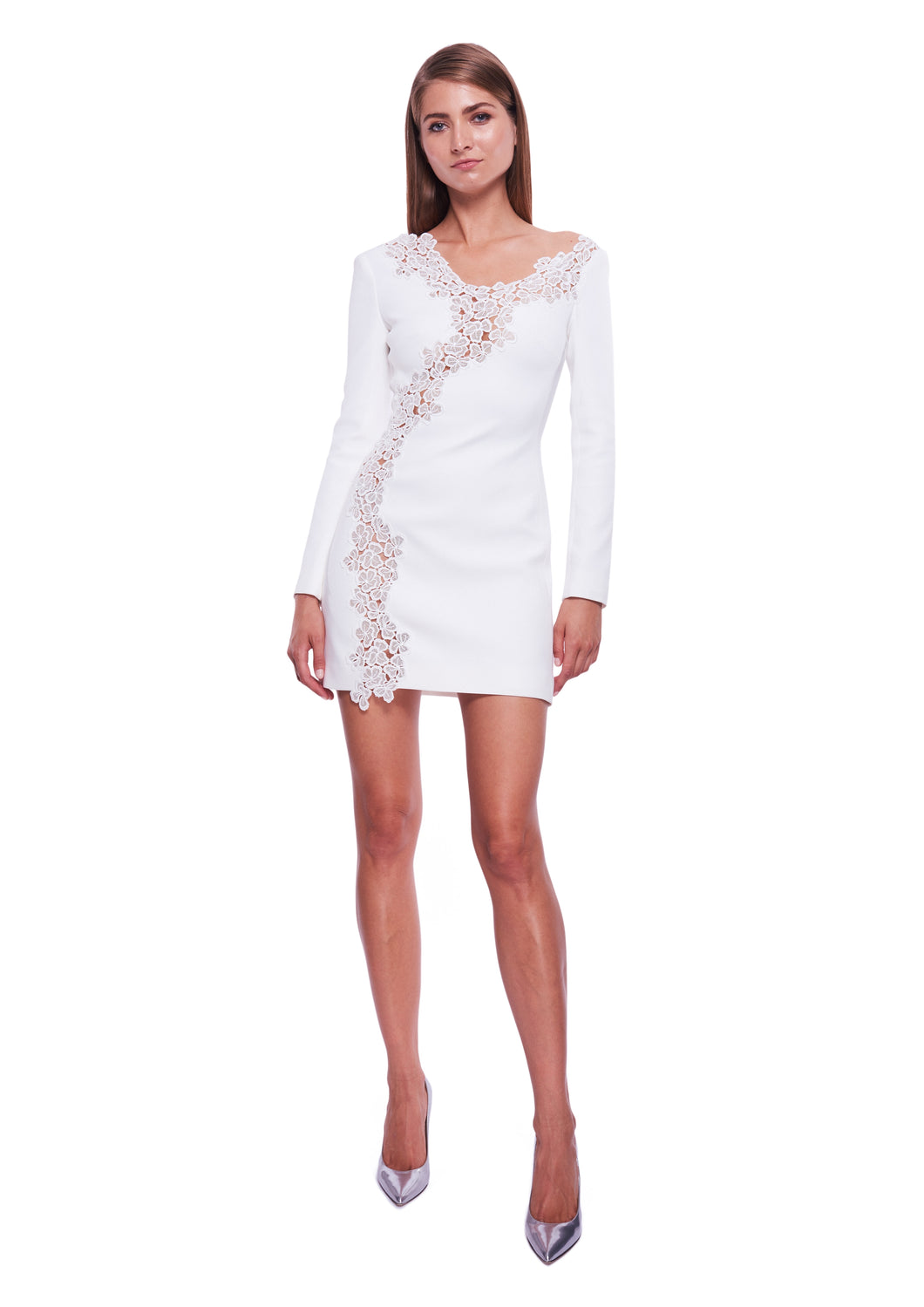 WHITE LACE TRIMMED MINI DRESS