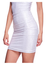 Load image into Gallery viewer, CRYSTAL EMBELLISHED WHITE MINISKIRT