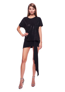 CRYSTAL EMBELLISHED BLACK JERSEY T-SHIRT