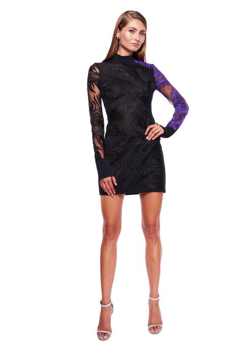 BLACK / PURPLE MACRAME MINI DRESS