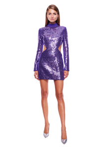 PURPLE SIDE WAIST CUT-OUT MINI DRESS