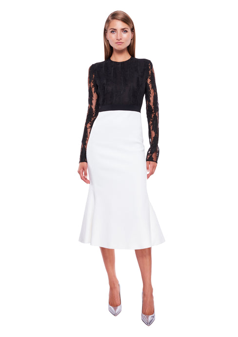 BLACK / WHITE MACRAME TOP & FLOUNCE MIDI DRESS