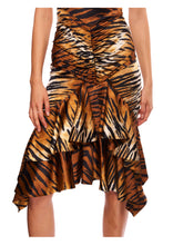 Load image into Gallery viewer, TIGER PRINT STRETCH SATIN MIDI DRESS