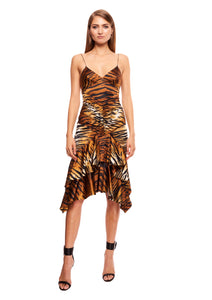 TIGER PRINT STRETCH SATIN MIDI DRESS