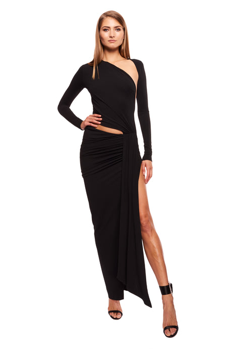 ASYMMETRIC CUT OUT STRETCH JERSEY MAXI DRESS