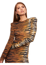 Load image into Gallery viewer, TIGER PRINT STRETCH JERSEY MAXI DRESS