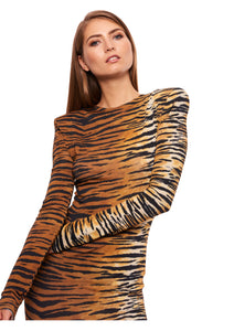 TIGER PRINT STRETCH JERSEY MAXI DRESS