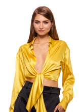Load image into Gallery viewer, STRETCH SATIN YELLOW CROPPED SHIRT