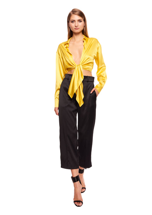 STRETCH SATIN YELLOW CROPPED SHIRT