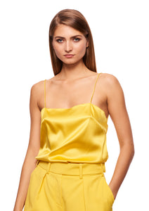 STRETCH SATIN YELLOW SLIP TOP