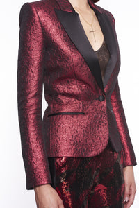 RED JACQUARD PEAK LABEL BLAZER