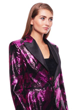 Load image into Gallery viewer, FUCHSIA PAILLETTES PIED DE POULE PEAK LAPEL BLAZER