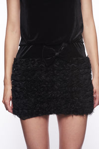VELVET MINI DRESS W ORGANZA ROSE