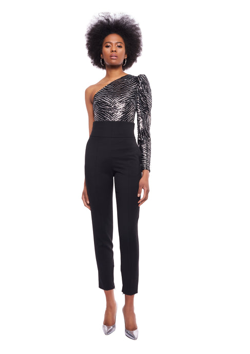 ONE SHOULDER ZEBRA EMBROIDERED SEQUINNED BODYSUIT