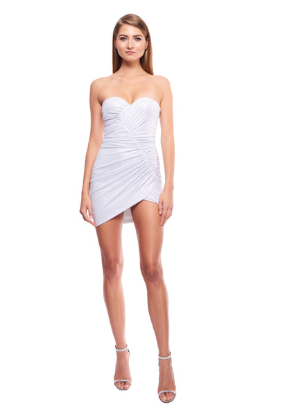 WHITE CRYSTAL-EMBELLISHED STRETCH JERSEY STRAPLESS MINI DRESS
