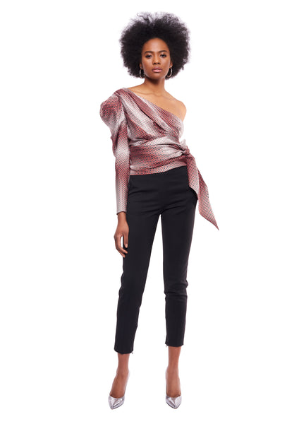 RUBY DOT TWILL ONE SHOULDER TOP WITH WRAP AROUND BELT