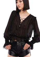 Load image into Gallery viewer, LONG SLEEVE LACE UP BLACK SHEER BLOUSE