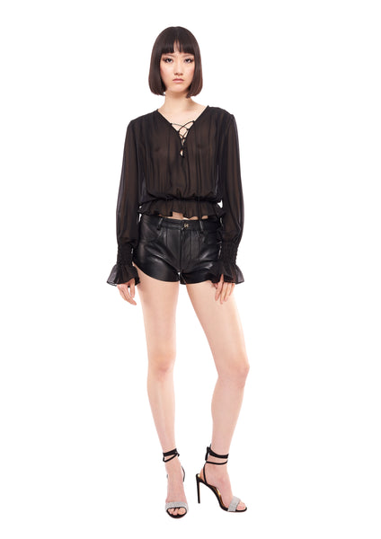LONG SLEEVE LACE UP BLACK SHEER BLOUSE