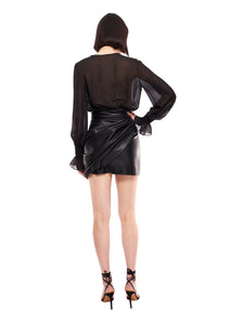 BLACK ECO LEATHER MINI SKIRT WITH BOW