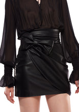 Load image into Gallery viewer, BLACK ECO LEATHER MINI SKIRT WITH BOW