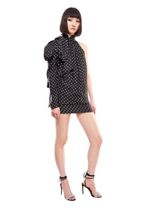 ONE SHOULDER POLKA DOT BLACK MINI DRESS