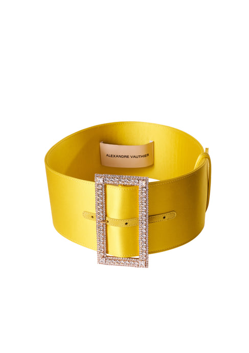 YELLOW CRYSTAL BUCKLE WIDE BELT
