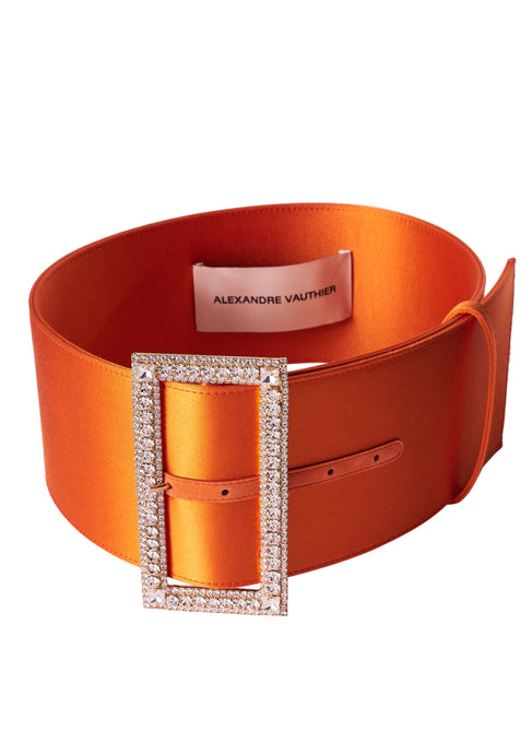 ORANGE CRYSTAL BUCKLE WIDE BELT