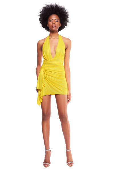 STRETCH JERSEY CRYSTAL YELLOW HALTER DRESS
