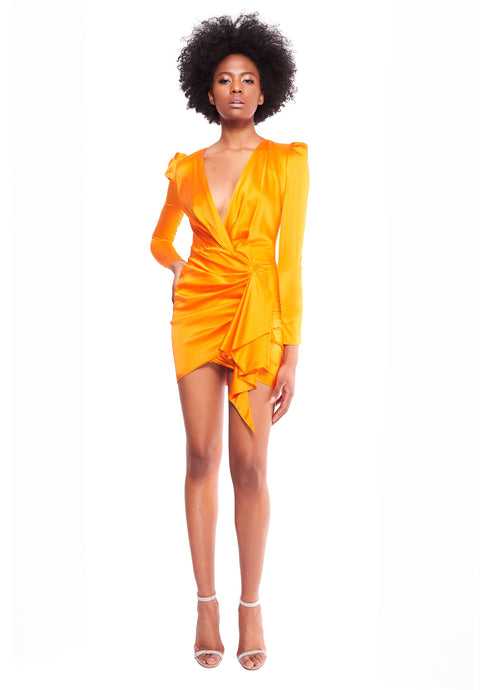ASYMMETRIC SILK BLEND TANGERINE SATIN MINI DRESS
