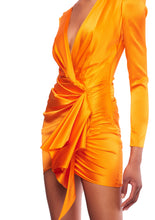 Load image into Gallery viewer, ASYMMETRIC SILK BLEND TANGERINE SATIN MINI DRESS