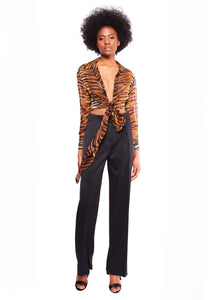 TIGER PRINT CHIFFON CROPPED SHIRT