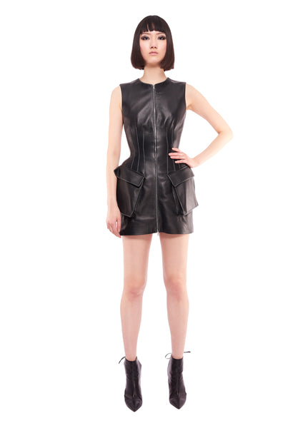 FRONT ZIP PEPLUM STRUCTURED BLACK LEATHER DRESS