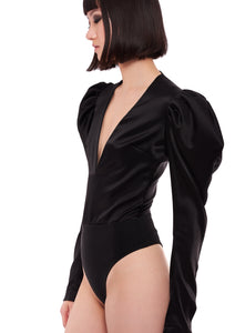 PUFF SLEEVE V NECK BODY SUIT