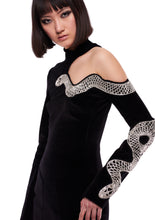 Load image into Gallery viewer, SNAKE EMBROIDERED CUT-OUT BLACK VELVET MINI DRESS