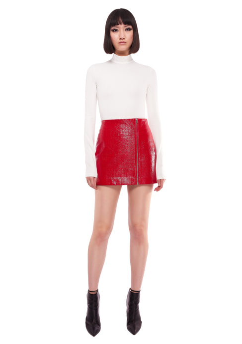 ZIP SIDE DETAIL RED MINI SKIRT
