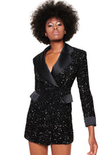 Load image into Gallery viewer, BLACK SEQUIN JACKET MINI DRESS
