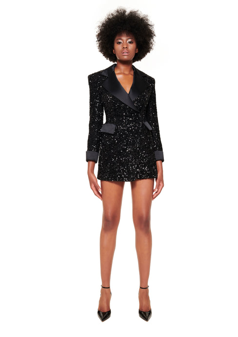 BLACK SEQUIN JACKET MINI DRESS