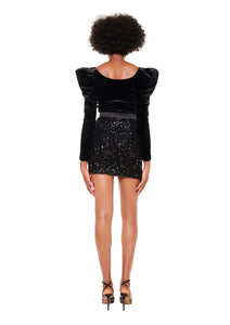BLACK AND SEQUIN MINI SKIRT WITH TRIANGLE BUCKLE