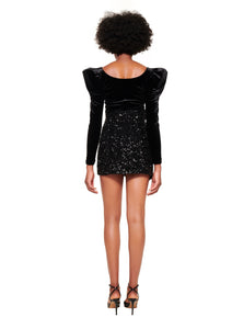 BLACK SEQUIN ASYMMETRIC MINI SKIRT
