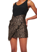 Load image into Gallery viewer, BLACK AND LEOPARD ASYMMETRIC MINI SKIRT