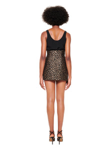 BLACK AND LEOPARD ASYMMETRIC MINI SKIRT