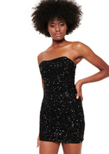 Load image into Gallery viewer, BLACK SEQUIN MINI DRESS