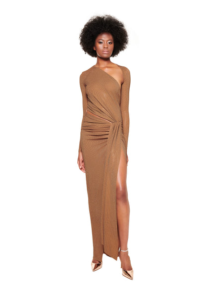 ASYMMETRIC CUT OUT CRYSTALLISED STRETCH JERSEY GOWN