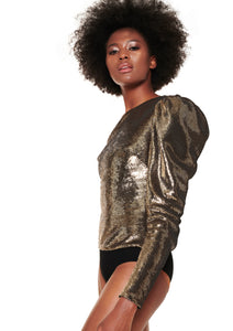PLATINUM PUFFED ONE-SLEEVE SEQUINED BODYSUIT