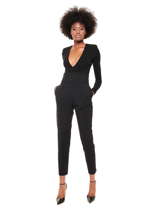 BLACK DEEP V-NECK LEO JERSEY BODYSUIT